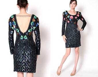 Vintage 80s Party Dress / Beaded Sequin Dress / Long Sleeve Mini Dress / M
