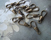 Vintage Raw Brass Brass Lanyard Clip Closings With Patina 20Pcs.