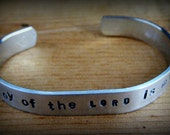 "Christian Bracelet, Metal Stamped Cuff Bracelet,  ""The joy of the Lord is my strength"", Scripture Jewelry, Religious, Jewelry"