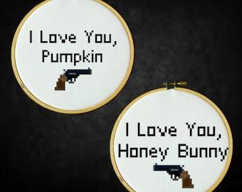 Pulp Fiction - I Love You Pumpkin, I Love You Honey Bunny - Cross Stitch PDF Pattern