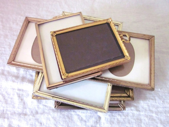 Metal Gold Frames,  Set of 6, Vintage, Mid Century, Wedding Frames