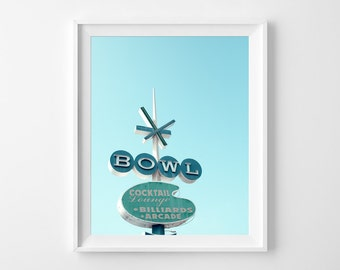 """Retro Sign Photograph Unframed / colorful bright blue neon vegas mid-century modern bowling sign whimsical / photography print / """"Blue Bowl"""""""