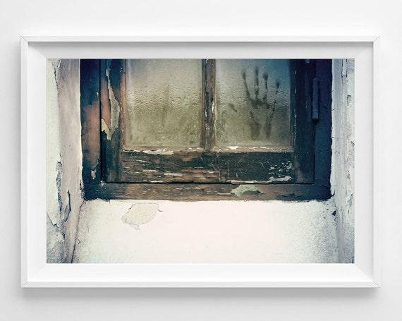 "Urban Window Photograph Unframed / eerie distressed city haunted glass pane spooky / green brown rain / photography print / ""Wait For Me"""