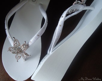 Bridal Wedge Starfish Flip Flops.- Original Australian Starfish Crystal and SWAROVSKI Elements-StarFish Collection White-003