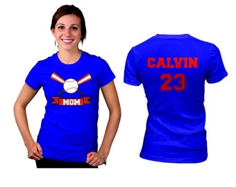 Personalized Baseball Mom women shirt. Front and Back