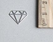 925 Sterling Silver Charm, Diamond Charm, Sterling Silver Diamond Charm, Tattoo Charm, Outline Diamond Charm, 12mm ( 1 piece )