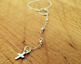 Cross Necklace - Lariat Jewelry - Sterling Silver Jewellery - Dainty - Religious - Chain