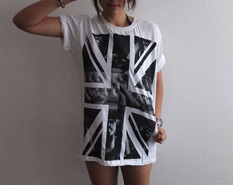 UK Flag model fashion punk rock art T-Shirt L
