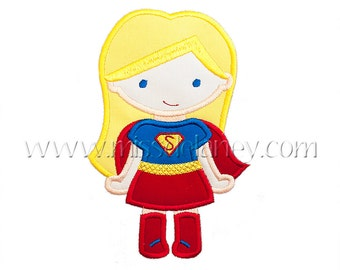 Super Girl (Long Hair) Applique Design