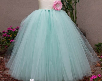 Mint With Pink Rose TuTu Dress. Wedding. Birthday. Flower Girl
