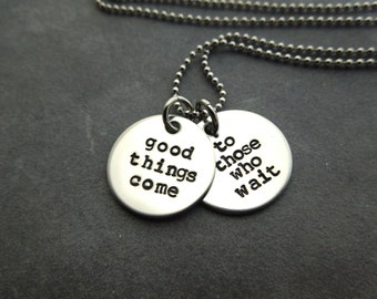 Custom necklace, hand stamped stainless steel
