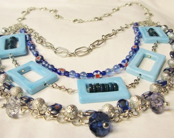 Necklace, Long Layered Blue and Silver Necklace,   Colbalt Blue Jewelry, Blue Jewelry Supplies, Long Chunky Jewelry, Chunky Layered Jewelry