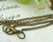 "5 pcs Antique Broze Long Chain Cross O Chains Necklace. 32"" Inch(O01)"