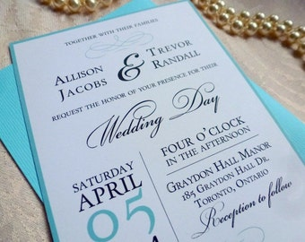 Printable Wedding Invitation and RSVP Card, The Audrey Suite, Elegant Aqua Blue Silver Grey Wedding by Event Printables