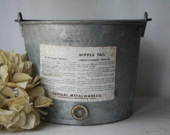 Vintage Metal Galvanized Farmers Pail