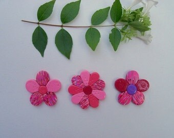 Fridge Magnets, pink and red polymer clay flowers, set of 3