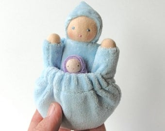 Small waldorf doll natural fiber blue pocket mother baby tooth fairy PMB1