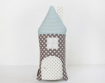 Stars House Pillow, Tooth Fairy Cottage, Blue, Gray Stars, Boys, Girls, Children, Toy,  Stuffed Toy, Keepsake