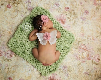 Newborn Butterfly Wings, Pink White Dusty Rose Flower Headband, Set of Petite, Mini, Preemie, Newborn Sparkle Wings