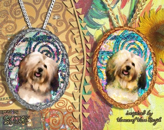 Havanese Dog Jewelry Pendant - Brooch Handcrafted Porcelain by Nobility Dogs - Gustav Klimt and Van Gogh