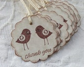 Set of 12 Love Bird Thank You Tags -  Wedding - Bridal Shower Favor Tags