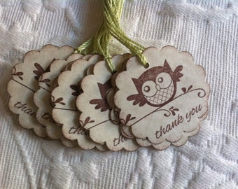 Set of 12 Owl Tags - Favor Gift Tags - Party Tags -Gender Neutral Baby Tag -  Bridal Favor Tag