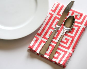 Table Napkins- Set of 4- Premier Prints Coral Towers- Cloth Dinner Party Napkins- Greek Key Table Linens- Fabric Wedding Napkins