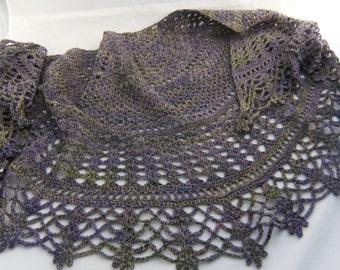 SALE - Morning Frost - OOAK Hand Dyed, Hand Spun Wearable Art Shawl, crochet shawl, handspun shawl, handmade shawl, crocheted shawl
