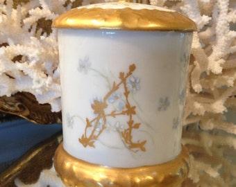 Vintage French Monogrammed Vanity Jar, Lidded, Gold Accents, Fine Porcelain, Feminine