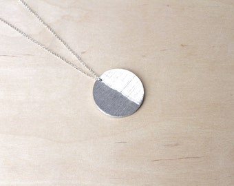 Minimalist Necklace Contemporary Jewelry Moon Design Aluminum Anniversary Gift