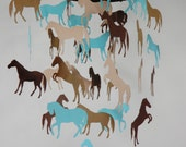 Reserved Listing for Jessica Rihn - Horse Decorative Mobile in Aqua Blue and Browns