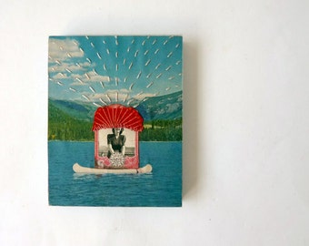"""Collage """"The Perfect Day"""", woman in boat on lake, summer theme"""