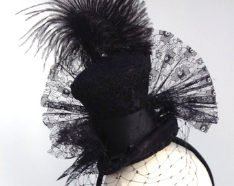 Victorian headpiece fascinator mini top hat