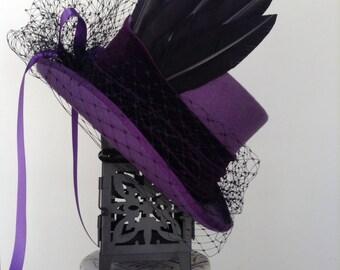 Steampunk gothic Victorian Purple Raven top hat