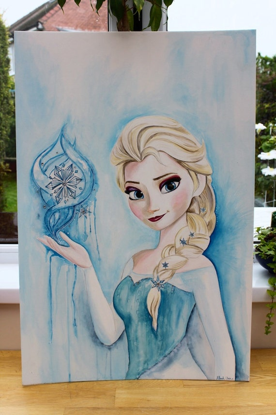 Items similar to original large elsa frozen painting 20 x for Pictures to draw on canvas