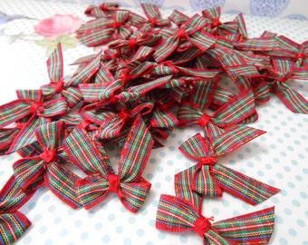 Bows Red Tartan 20 pcs