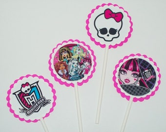 12 Monster High Cupcake Toppers/ Birthday Party/ Party Supplies/ Cake Toppers/ Girl Birthday