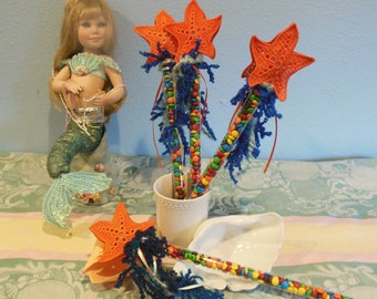 Fillable Mermaid Starfish Wand Party Favor