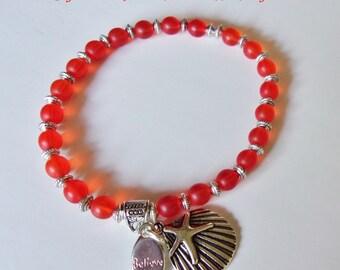 Orange Sea Glass Recycled Starfish Charm Bracelet