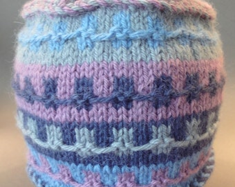 Colorfull  Handknitted Hat , Cap  - Model #01.