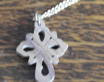 vintage wood carved cross necklace