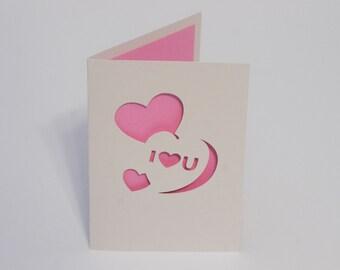 Conversation Heart Valentine Card - I [heart] U - Cut Paper Card