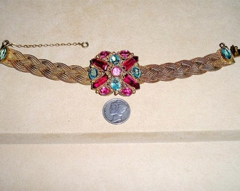 Vintage Original By Robert Mesh Bracelet With Bezel Set Pink Blue Red Glass Stones 1940's Signed Jewelry 8000
