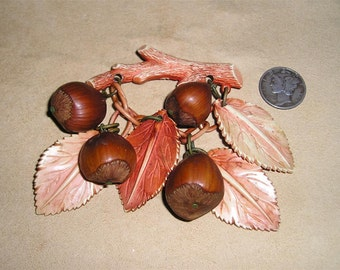 Vintage Celluloid Brooch With Real Hazel Nuts 1930's Jewelry 85