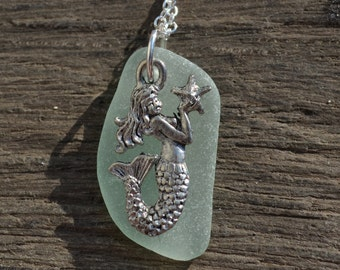 Mermaid on Sea Foam Green Sea Glass Necklace