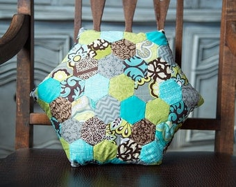 Turquoise Lime Gray and Brown Hexagon Accent Pillow
