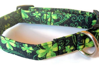 St. Patrick's Day Shamrock Dog Collar size Medium