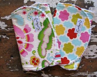 Baby Girl Burp Cloths - Kumari Garden Teja Pink & Tarika Gem - Set of 2 - Bright Yellow, Pink and Aqua