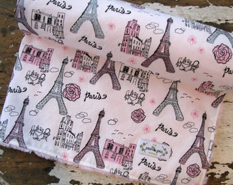 Glitter Paris Eiffel Tower Baby Blanket - Baby Girl - Minky Baby Blanket - Pink, Grey and Black