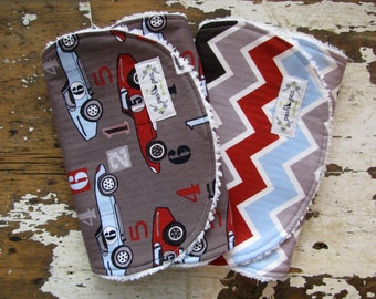 Burp Cloths - Speedster Sport Cars and Chevron - Set of 2 - Grey, Baby Blue and Red - Boy